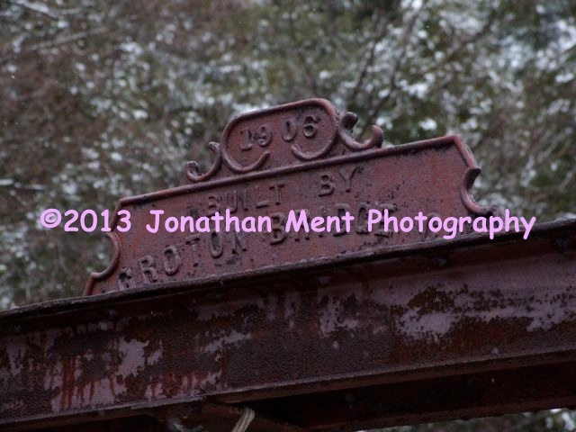 Nameplate from the 105-year old bridge destroyed during Hurricane Irene